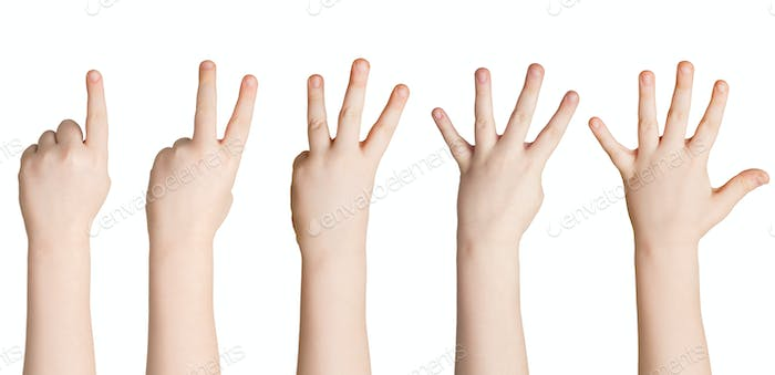 Set of white child hands showing figures, counting