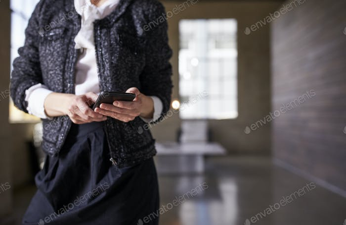 Mid section of businesswoman using phone foyer, close up