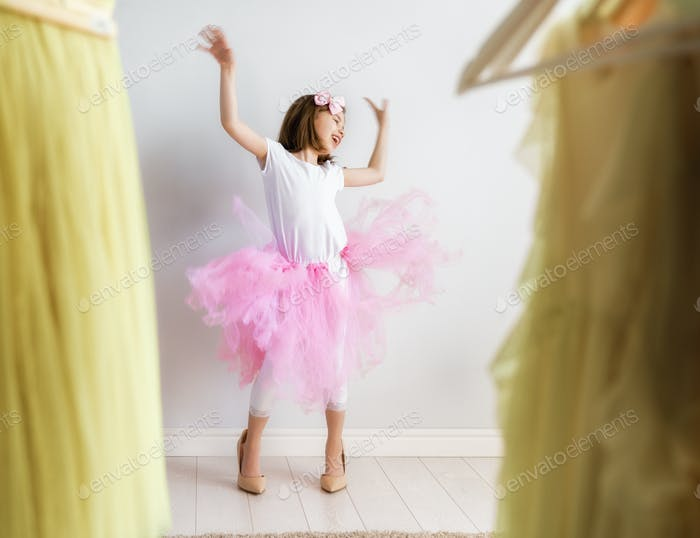 girl dressing up at home