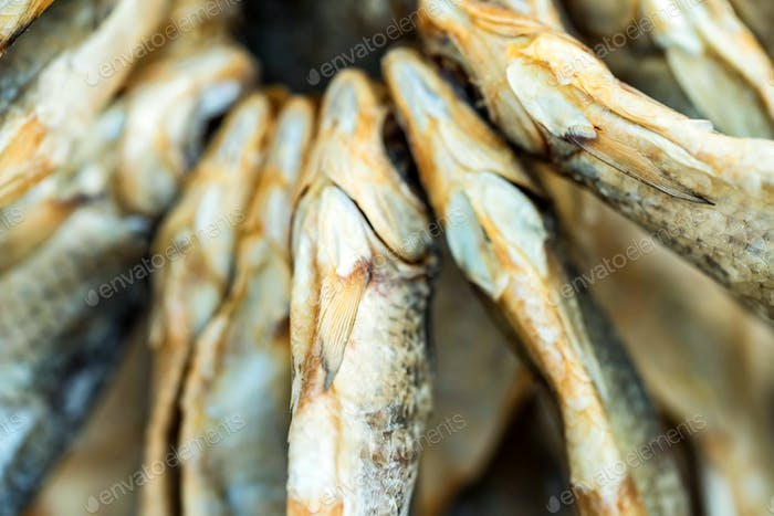 Dried fish close