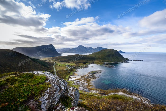 view of Beautiful mountain landscape with Norwegian sea, lofoten, Norway