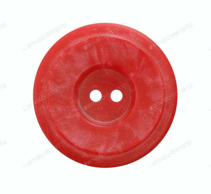 Big red button on white background