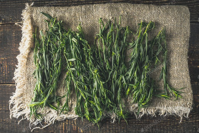 Tarragon on the canvas on the wooden table top view