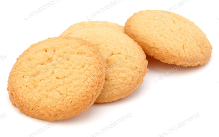 short pastry cookies isolated on white background
