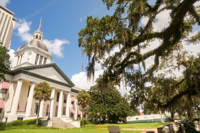Security Barriers Protect The State Capital Building in Tallahassee