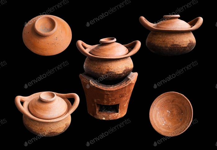 pottery on the black background