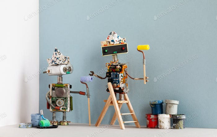 Two robots painters with paint rollers, wooden ladder and paint buckets