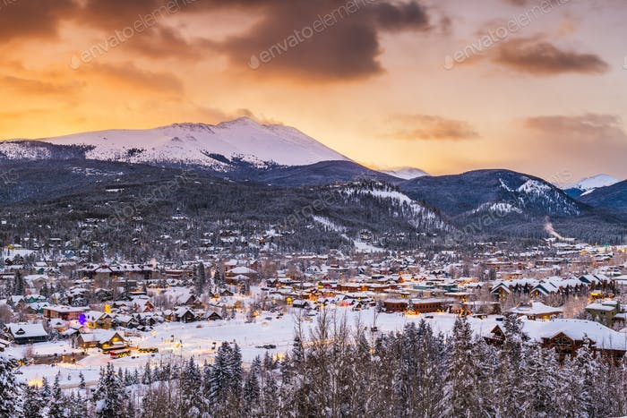 Breckenridge, Colorado, USA ski resort town skyline