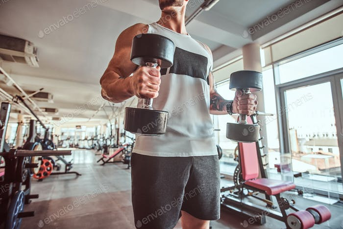 Young muscular man is doing exercises with dumbbells in sunny gym