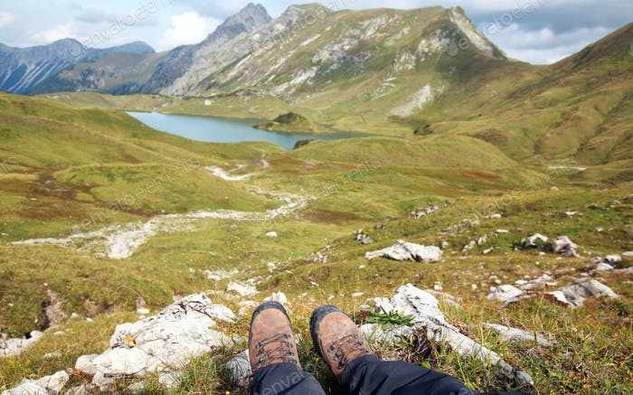 trekking boots in Alps