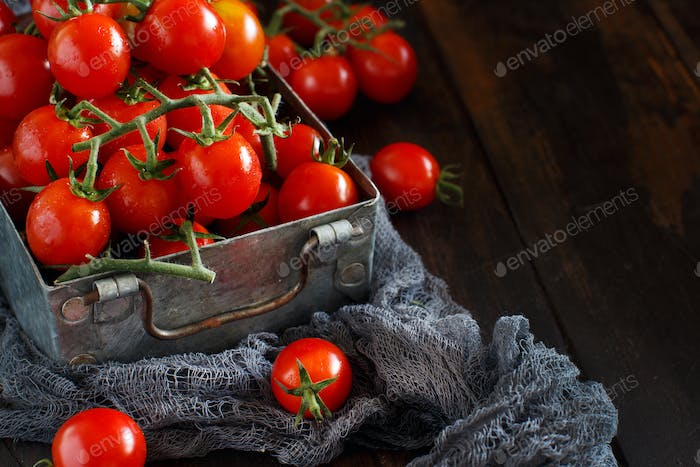 Cherry tomatoes in a metal box