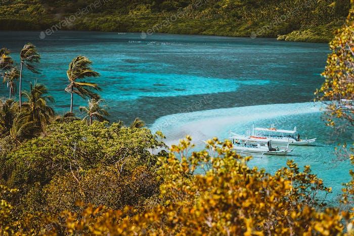 Beautiful view of a tropical Snake island, El Nido, Palawan, Philippines