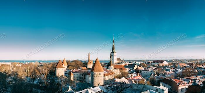 Tallinn, Estonia. Panorama Of Part Of Tallinn City Wall With Tow
