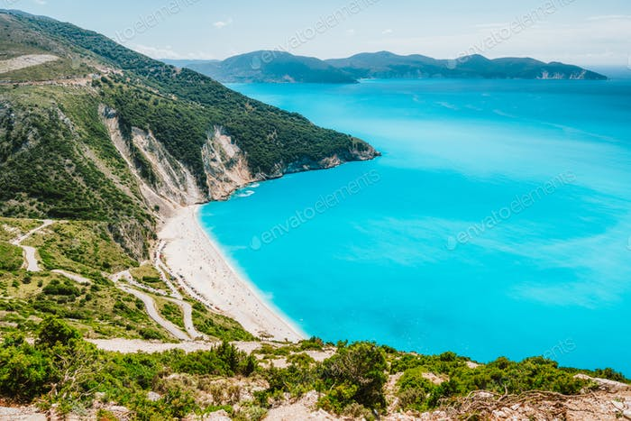 Famous Myrtos Beach. Must see visiting tourism location on Kefalonia island in summer. Greece