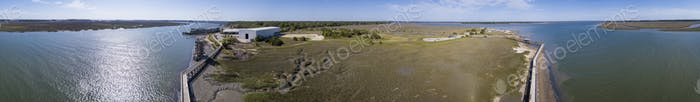360 degree aerial panorama of Port Royal, South Carolina with Pa