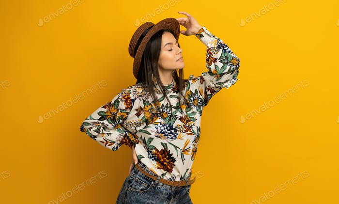 beautiful attractive stylish brunette woman in trendy fashion clothes outfit