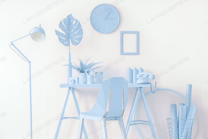 Mockup in blue workspace interior