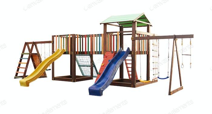 Bunte Spielplatz für Kinder isoliert auf weißem Hintergrund