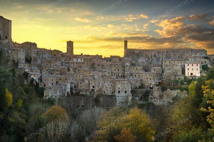 Tuscany, Sorano medieval village panorama sunset. Italy