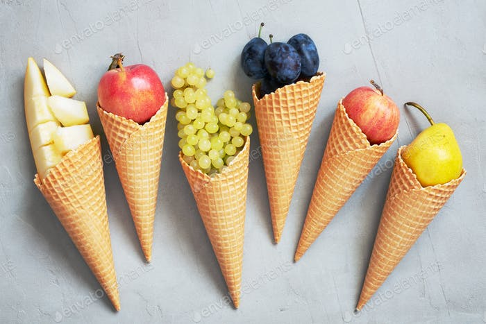 Concept of Ice-Cream with Fresh Seasonal Fruits