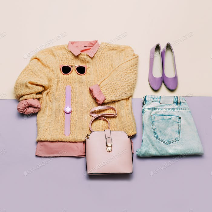 Stylish female clothes set. Woman/girl outfit on stylish backgro