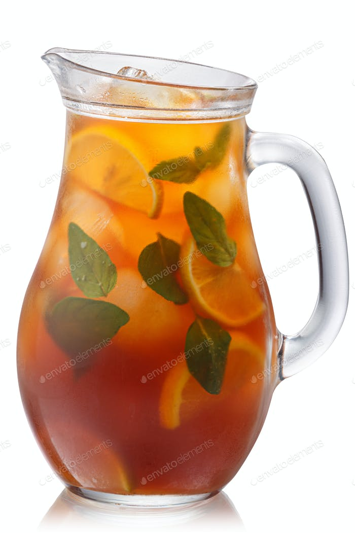 Oregano lemon iced tea pitcher, paths