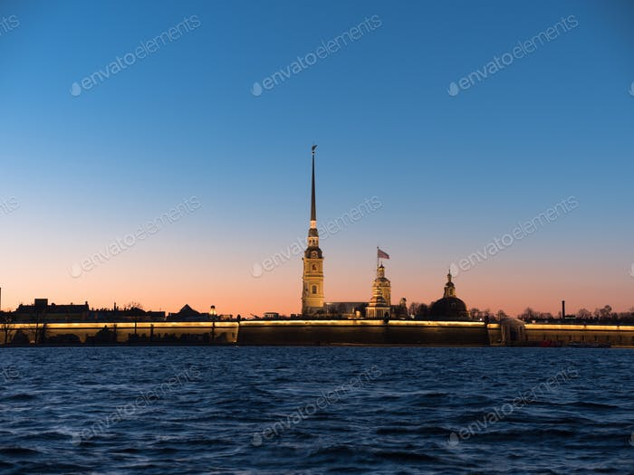Peter and Paul Fortress night is the original citadel of St. Petersburg, Russia