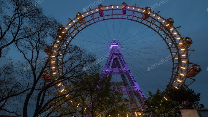 Giant Ferris Wheel in the evening. Vienna, Austria