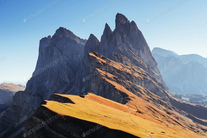 Mountain ridge of the great Seceda mountains captured at the daylight