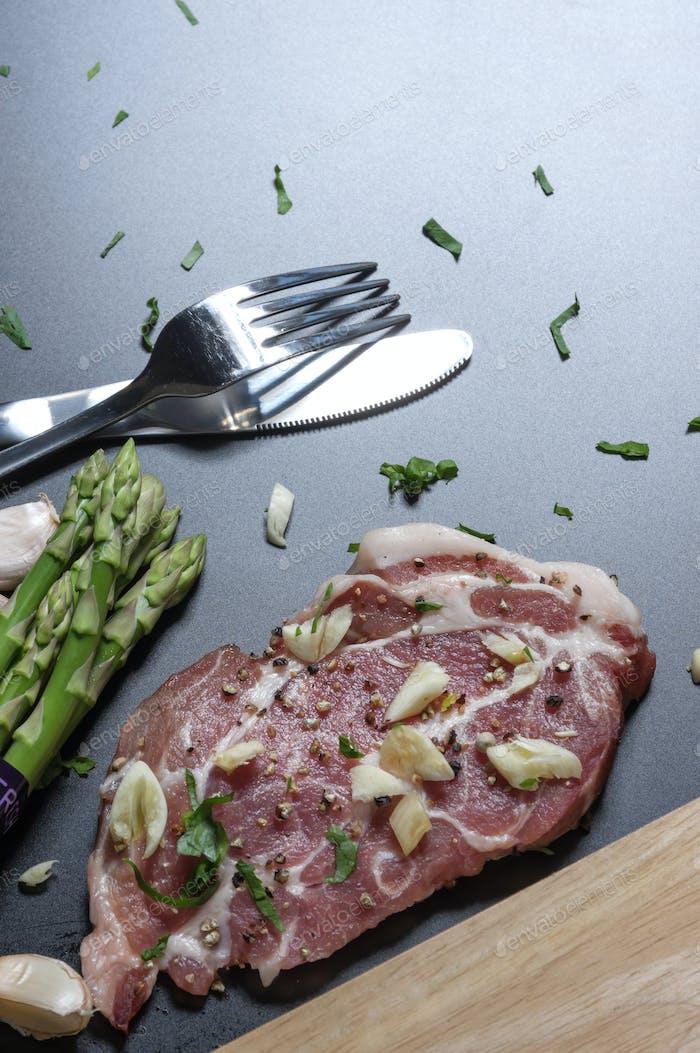 Raw pork in preparation step