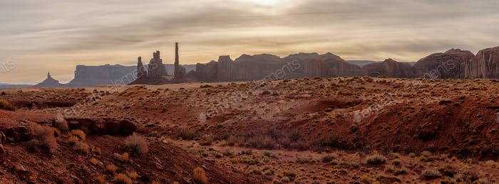 Panoramic landscape view of Monument valley, USA