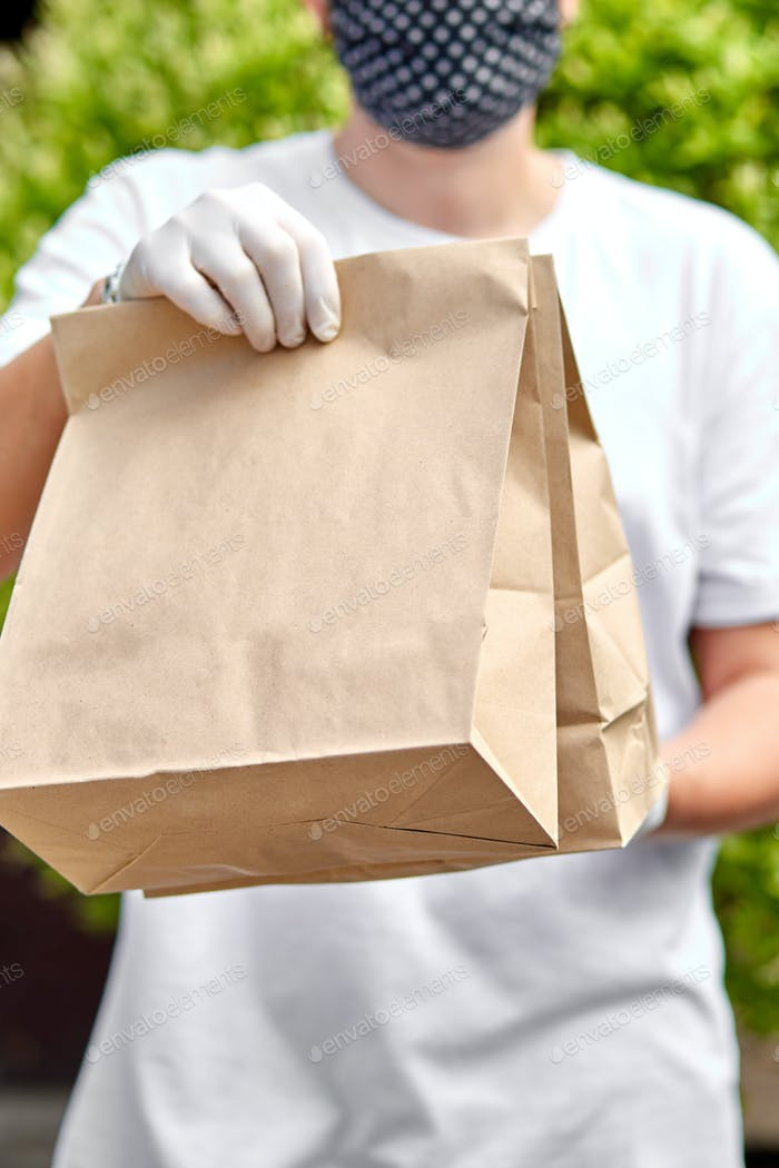 Courier hold go box food, delivery service, Takeaway restaurants food delivery to home door