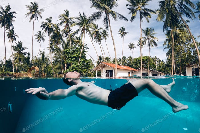 Relaxation in swimming pool