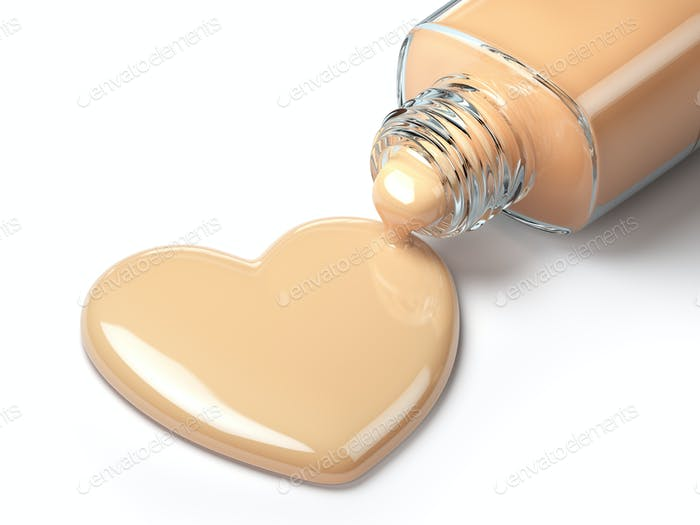 Liquid makeup foundation cream in form of the heart symbol and g