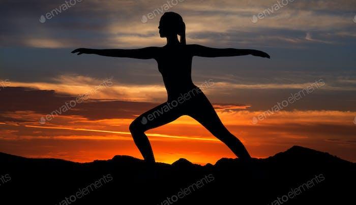 Sunset yoga concept