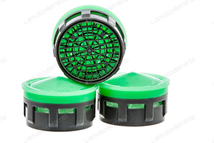 Three isolated plastic faucet aerators