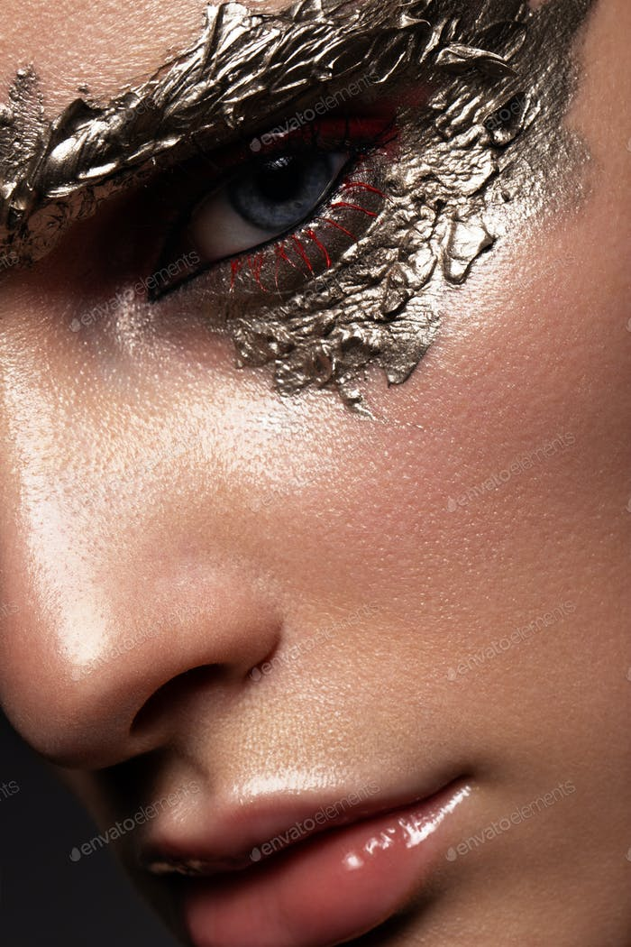 Fashion art make up woman face. Close up