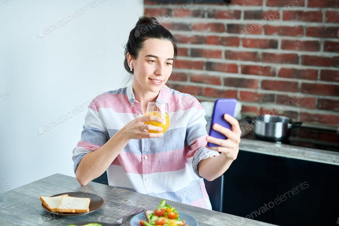 Using Video Chat at Breakfast