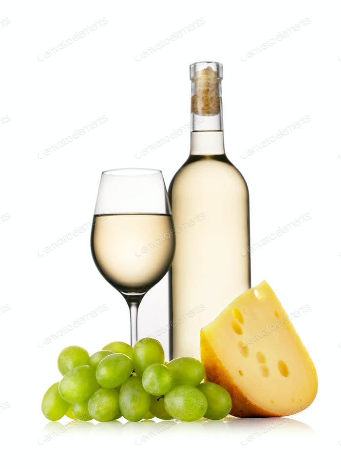 Glass and bottle of white wine with cheese