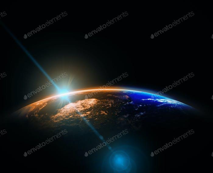 Parte de la tierra con salida del sol y fondo de llamarada de lente, concepto de red de Internet