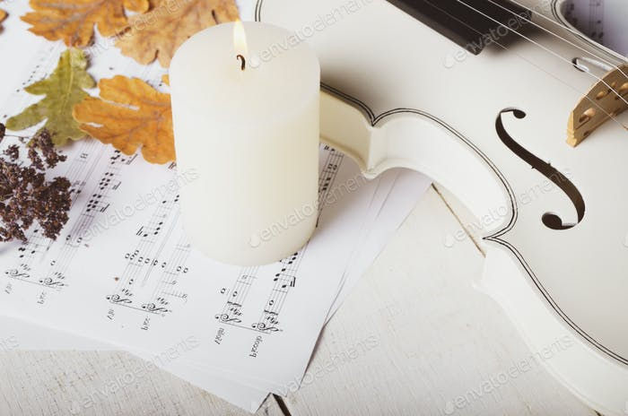 Close view of a white violin dry oak leaves musical notes and ca