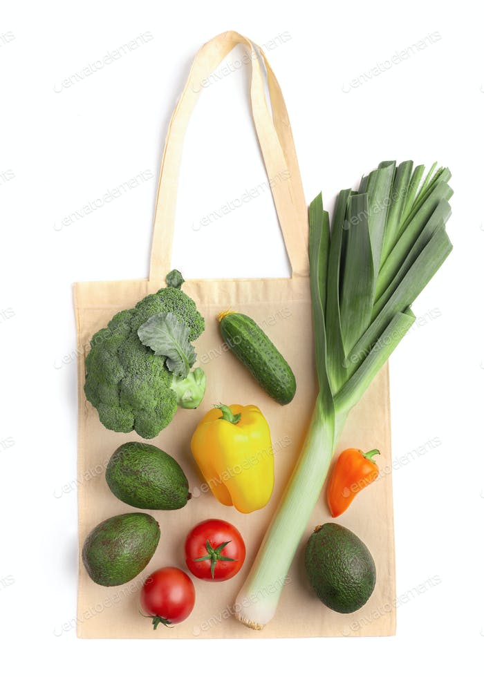 Fresh and healthy vegetables on eco cotton bag