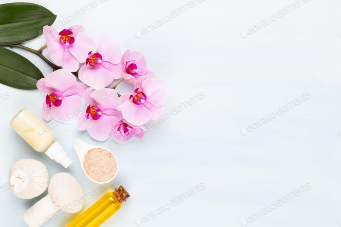 Spa aromatherapy background, flat lay of various beauty care products decorated.