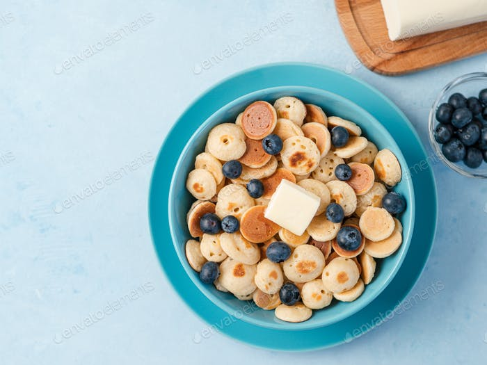Pancake cereal, copy space, top view