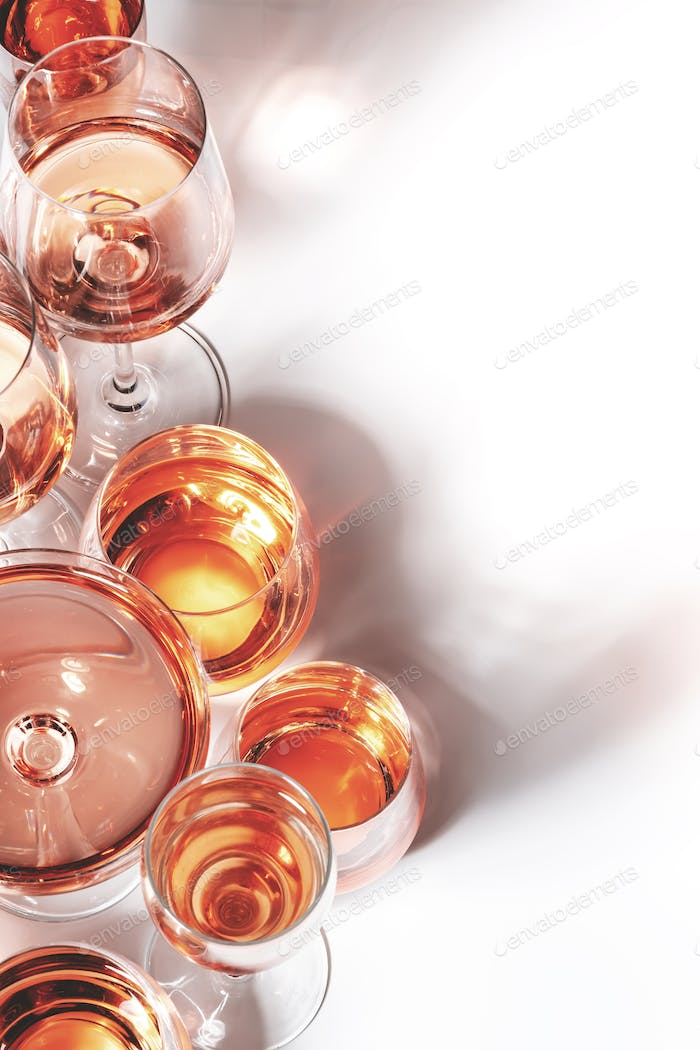 Rose wine of different shades in glasses