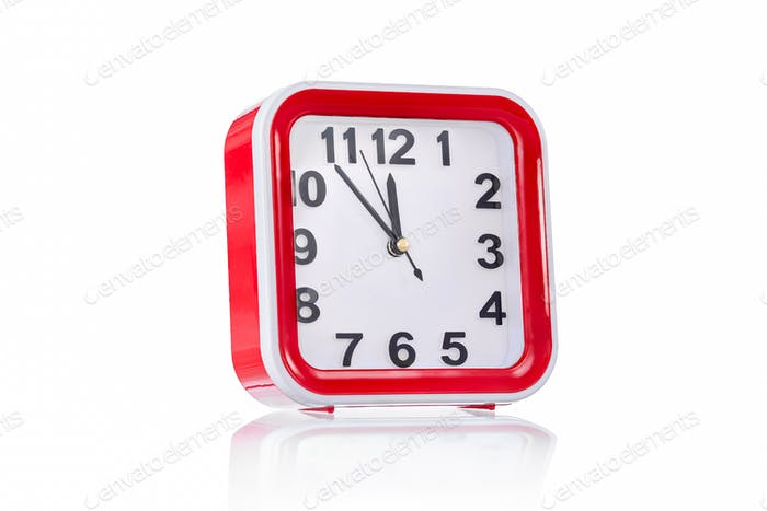 Square clock isolated on white background 3/4 view