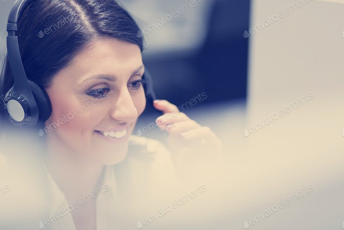female call centre operator doing her job
