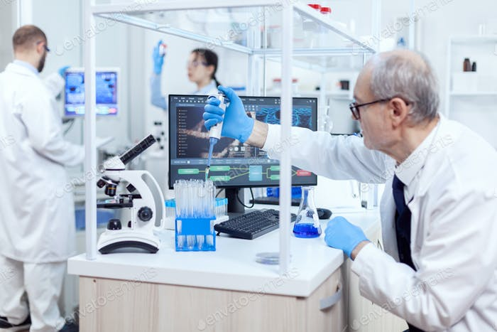 Healthcare specialist in chemistry laboratory doing scientific research
