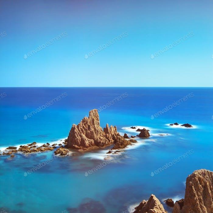 Cliff Rocks and Ocean Andalusia. Cabo de Gata park, Almeria, Spa