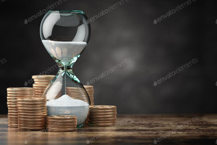 Golden coins and hourglass clock. Return on investment, deposit, growth of income and savings